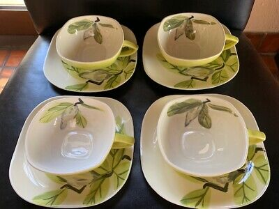 RED WING Pottery MAGNOLIA Pattern Chartreuse 4 Cups, 4 Matching Saucers Vintage