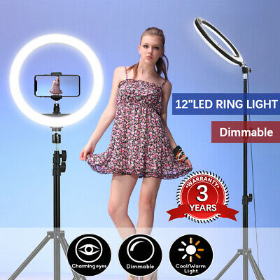 12 Inch LED Ring Light With Stand+Phone Holder Make-up for Camera iPhone Tiktok