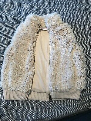 Girls Age 5 Yrs Cream Faux Fur Gillet