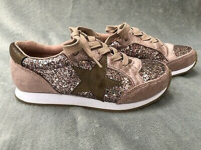 Next Girls Rose Gold Sparkle Trainers Size 13 UK