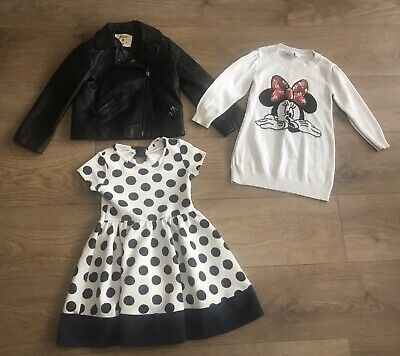Girls bundle age 2-3 years minnie mouse jumper faux leather jacket F402 dress