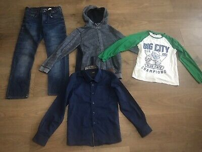 Boys bundle 9-10 years h&m jeans hoody long sleeved top shirt F418 blue