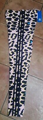 Girls Adidas Originals Lz Leopard Print Leggings Pink/Black - Bnwt  Ages 7-14