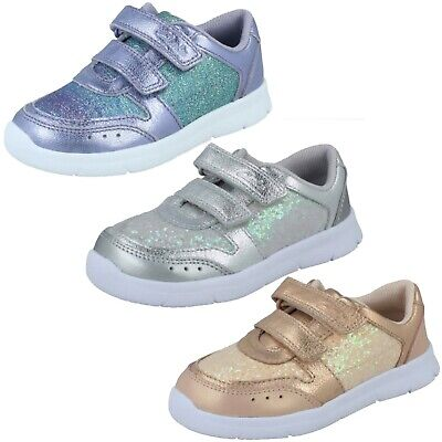 Girls Clarks Ath Sonar T Hook & Loop Toddler Shoes Glitter Casual Trainers Size