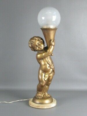 Antique Lamp Statue Angel Wood Golden Years' 40 Sculpture Base Marble