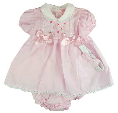 Baby Girl spanish style Dresses Knickers Headband Pink  Bow 0-3 m3-6 m 6-9months