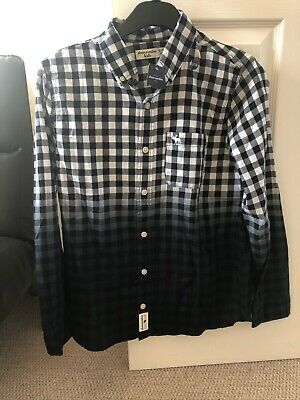 Boys Abercrombie and Fitch shirt white/black/navy age 13/14 -brand new with tags