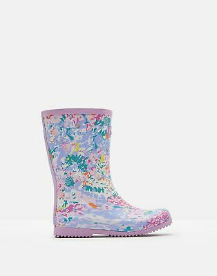 Joules Girls Roll Up Wellies in WHITE MERMAID DITSY Size Childrens 9
