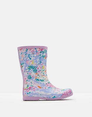 Joules Girls Roll Up Wellies in WHITE MERMAID DITSY Size Childrens 2