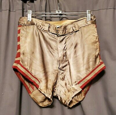 Vtg 1930s GOLDSMITHS Mens Satin & Wool Red Stripe Basketball Athletic Shorts