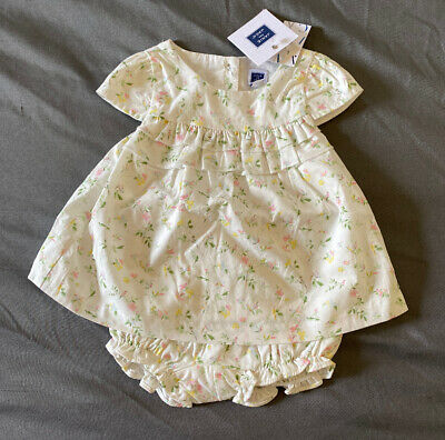 Baby Girl 0-3 Month Janie and Jack Off White Floral Ruffle Dress & Bloomers
