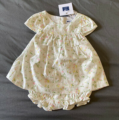 Baby Girl 3-6 Month Janie and Jack Off White Floral Ruffle Dress & Bloomers