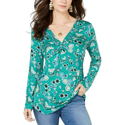 Style & Co. Womens Green Floral Twist V-Neck Top Shirt S BHFO 2284