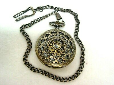 Men's skeleton mechanical wind-up pocket watch antique brass finish