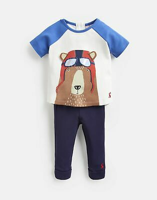 Joules Baby Mack Screenprint Top And Trouser Set in BLUE PILOT BEAR Size 0min3m