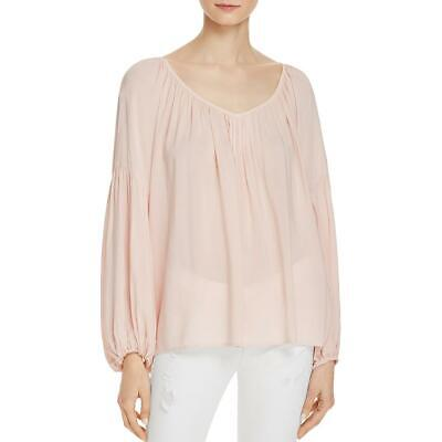 Velvet Womens Zadie Pink Pleated V Neck Bishop Sleeve Blouse Top S BHFO 8783