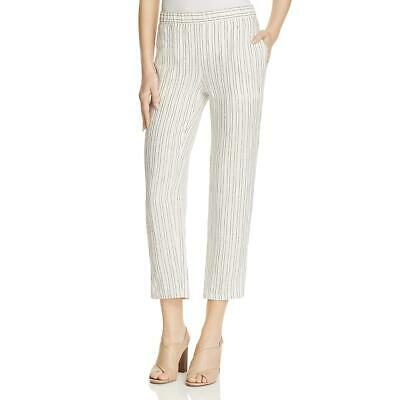 Theory Womens Thorina Ivory Linen Striped Casual Cropped Pants 12 BHFO 7834