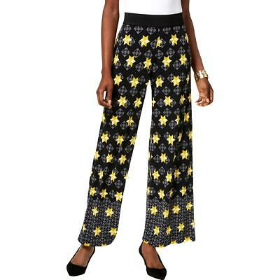 Alfani Womens Black Wide-Leg Star-Print Pull-On Palazzo Pants M BHFO 3192