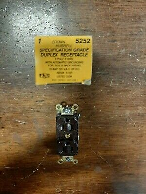 Hubbell 5252 Brown Duplex Receptacle, Lot of 40 pieces,