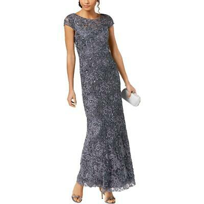 Adrianna Papell Womens Gray Lace Illusion Formal Evening Dress Gown 6 BHFO 2669