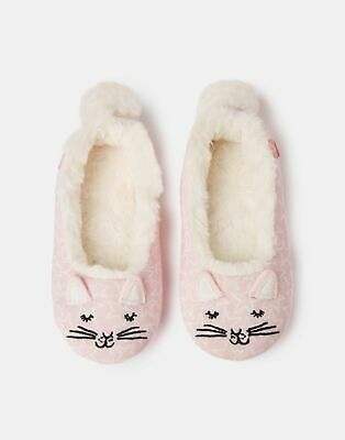 Joules Girls Dreama Character Slippers in PINK CAT Size M
