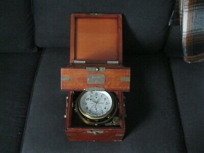 "Large Nice Russian Double Box Marine Chronometer 7-1/2"" square"