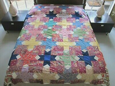 """Vintage Hand Pieced Feed Sack DEVIL'S CLAWS Quilt TOP, Nice Prints!; 83"""" x 72"""""""