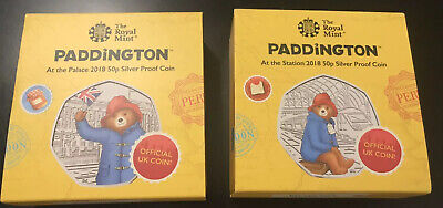 2018 Royal Mint - Paddington Bear - Silver Proof- At The Station & At The Palace