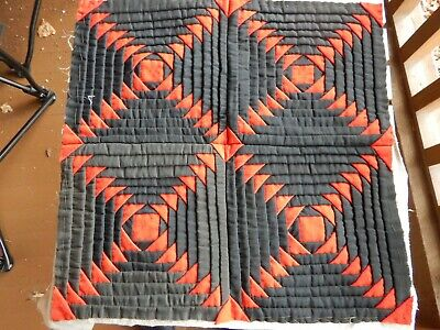 Antique Graphic Pineapple Quilt Blocks  PA German Wool & Cotton Primitive  EARLY
