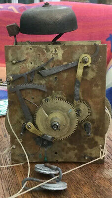 Antique 8 Day Longcase Clock Movement With Bell, Gut Lines And Pulleys