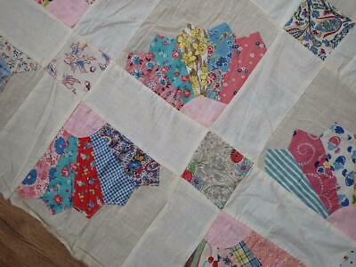 Pretty Prints! Vintage 30s Sugar Sack Feedsack Fan Quilt Top To Finish