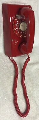 Vintage ITT Model A/B 554 ( 12-68 ) RED Rotary Dial Wall Mount Telephone - NEW