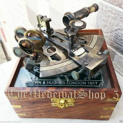 Brass Collectible Sextant Nautical Astrolabe Glasstop Maritime Antique Wood Box