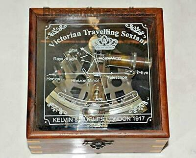 Maritime Antique Brass Sextant Nautical Astrolabe Glasstop Wood Box Collectible