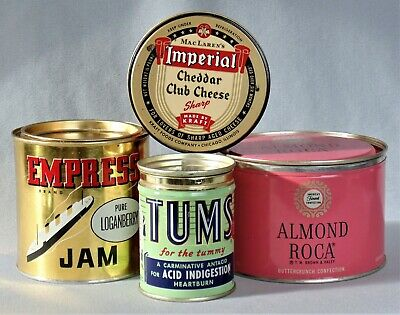 Old Advertising 4 Tins Empress Jam Tums MacLaren's Imperial Cheese Almond Roca