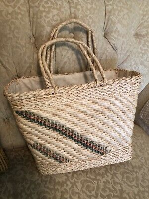 Vintage Large Colorful Straw Wicker Woven Purse Tote Bag/Beach