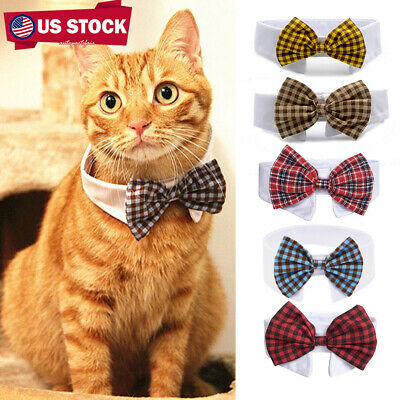 Adjustable Cute Puppy Necktie Collar Plaid Bow Ties Pet Cat Dog Supplies Lovely