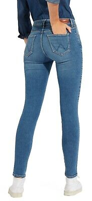 Wrangler High Rise Skinny Elastico Jeans Stretch Donna Perfetto Blu Denim