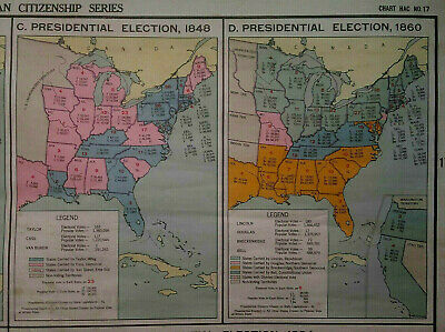 A.J. Nystrom Political Parties 1800 - 1894 Pull Down School Map 1940's 50's
