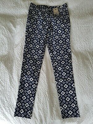 Womens Girls Bnwt Tu Navy And White Trousers Tapered Leg Size 8 Rrp £20