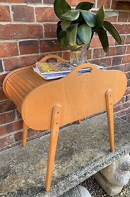 Retro Mid Century Tambour Barrel Sewing Box / Craft Box With Contents