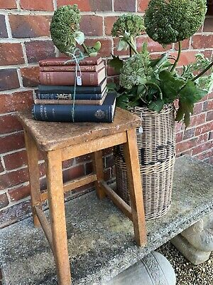 Small Vintage Oak Science Lab Stool / Plant Stand