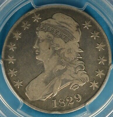 1829 Small Letters Capped Bust Half Dollar PCGS F12- Nice Eye Appeal