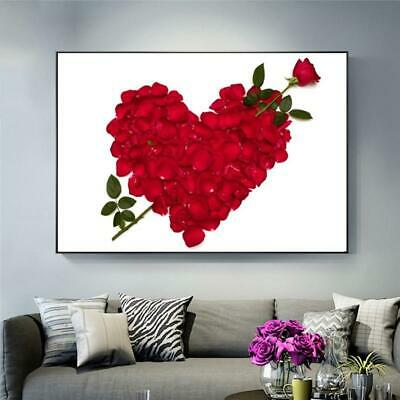 Abstract Modern Heart Rose Flowers Canvas Paintings Wall Art Landscape Painting