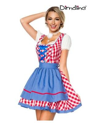 Traditional Mini-Dirndl Red White Checked Blue Apron 34 36 38 40 42 44 46