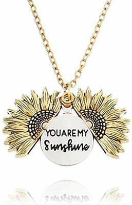 VALENTINE'S DAY GIFT FOR HER Locket Necklace Sunflower You are My Sunshine Gold