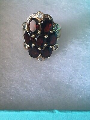 Vintage 925 Sterling Silver Ruby Cocktail Ring  Made In India 8.5 Size