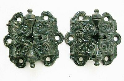 2 Vintage Heavy Duty Ornate Cast Iron Spring Hinges
