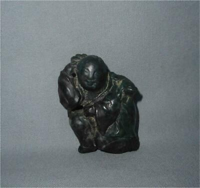 Antique China TOP HIGH AGED QING ERA HANDCARVED GREENSTONE BUDAI MONK FIGURE