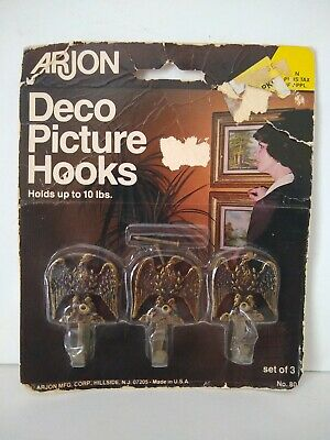 Vintage Arjon Deco Picture Hooks Wall Hanging set of 3 NOS Eagle USA